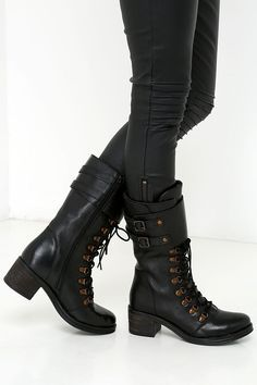 Report Signature Fenner Black Leather Mid-Calf Combat Boots