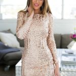 Rose Gold Long Sleeve Open Back Bodycon Sequin DressBy Xenia