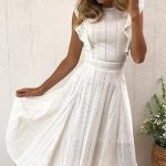 Ruffle White Hollow Out Dress