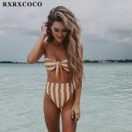 Rxrxcoco Sexy Striped Bikini Set Women Swimsuit Push Up High Waist B3147