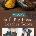 SOCOFY Retro Big Head Sun Flower Genuine Leather Double Zipper Flat Boots. #boot...
