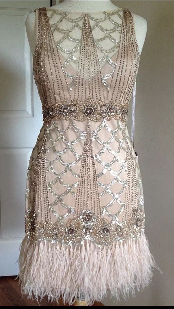 SUE WONG 1920's Gatsby Champagne Beaded Feather Evening Bridal Wedding Dress 2 #…