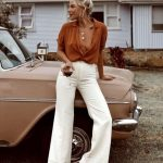 Screamin x Outfits rust shirt and white wide leg trousers