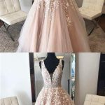 Sexy Appliques Tulle Prom Dress, Champagne V Neck Evening Formal Dress F359