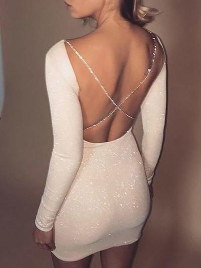 Sexy Creamy White Sequins Homecoming Dress,Tight Long Sleeves Mini Homecoming Party Dress,Custom Made Cocktail Dress from PeachGirlDress