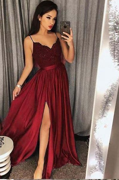 Sexy Prom Dress with Slit, Prom Dresses, Evening Gown, Graduation School Party Dress, Winter Formal Dress, DT0083
