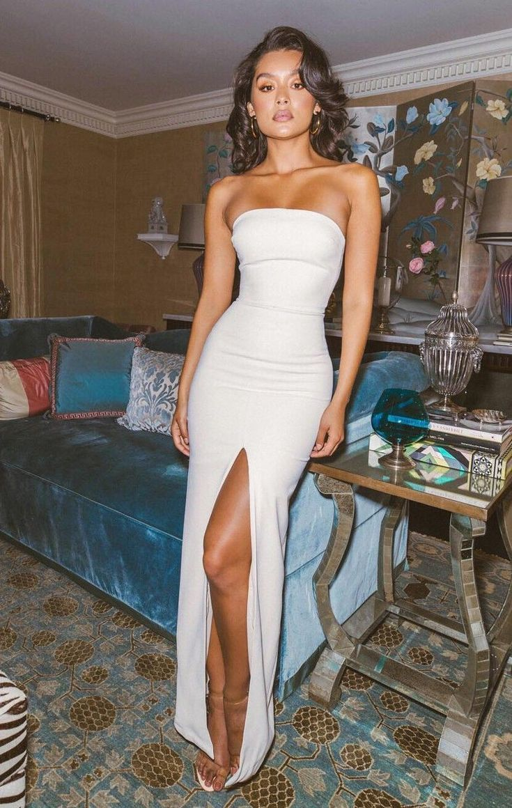 Sexy Side Slit Strapless Evening Party Dress, Simple Long Prom Dress