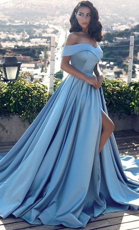 Sexy Sky Blue Prom Dresses Off-the-Shoulder Side Slit Gorgeous Evening Gowns