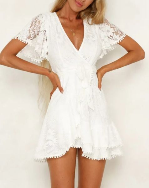 Sexy lace patchwork resort dress – White Dresses – Ideas of White Dresses #White…