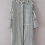 Shop Dip Hem Striped Shirt Dress online. ROMWE offers Dip Hem Striped Shirt Dres...