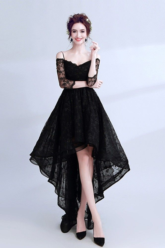 Shop cheap High Low Black Lace Prom Dress Sleeved With Spaghetti Straps online. …