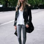 Shop this look for $140:  lookastic.com/...  — Black Leather Jacket  — White...