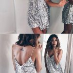 Silver Sequin Deep V Neck Sleeveless Short Dress Elegant Evening Party Dresses