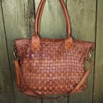 Soft Camel Color Italian Woven Leather Handbag