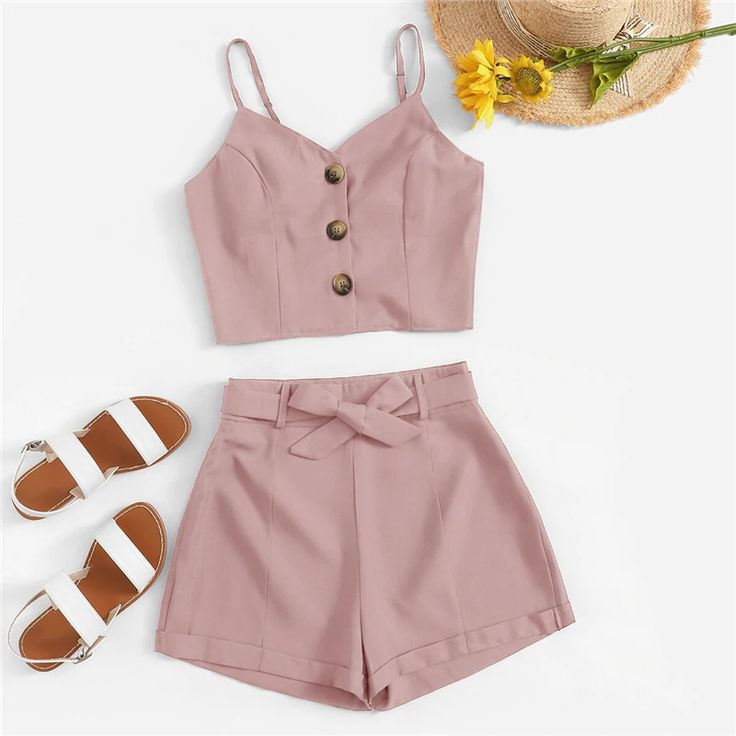 Solid Button Front Cami Top With Belted Shorts Women Summer Boho Two Piece Set Ladies
