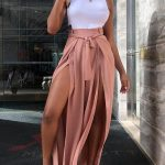 Solid Thigh Slit Belted Long Pants