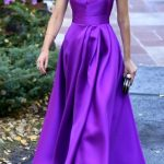 Spaghetti Straps Purple Satin Prom Dress Tea Length Wedding Party Formal Gown 10579