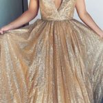 Sparkly A-Line Deep V-Neck Sleeveless Sequined Long Prom Dresses,VPPD697