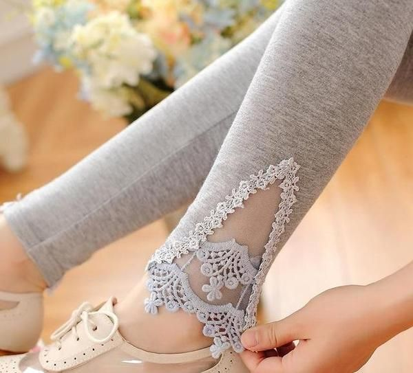 Spring Autumn Thin Women Cotton Knitted Short Leggings Hollow Out Lace Diamond Print Flower Thin
