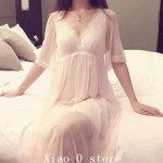 Summer Sleep Lounge Lady Sleepwear Deep V-neck Long Nightdress Women White Pink Nightgown Modal Lace Night dress Plus Size