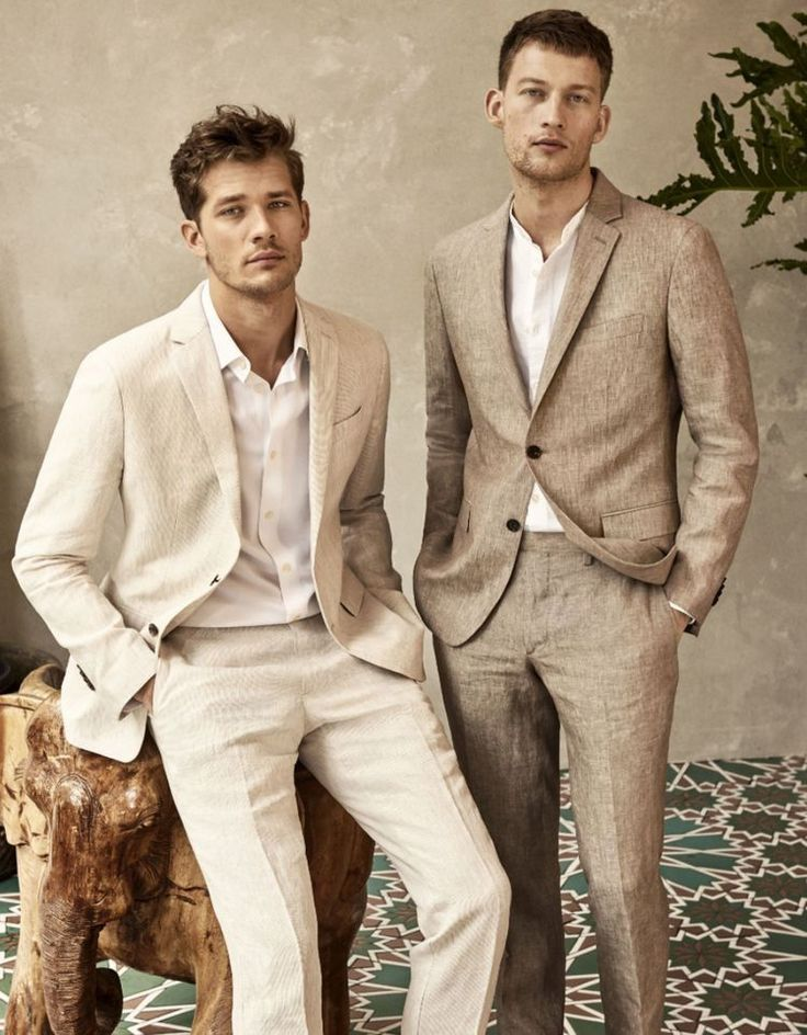 Summer suiting ideas with a cream and beige linen suits one with a linen banded …