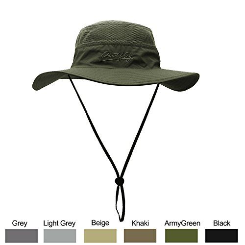 Sun Hat for Men & Women, Wide Brim UPF 50+ UV Protection Beach Cap, Breathable Outdoor Boonie Hats with Adjustable Drawstring Design , Perfect for Hiking, Fishing, Camping, Boating& Safari (ArmyGreen