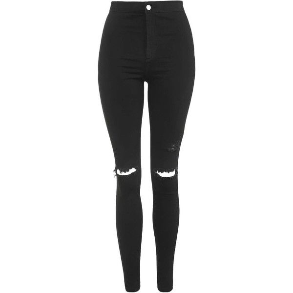 TOPSHOP MOTO Black Ripped Joni Jeans (€51) ❤ liked on Polyvore featuring jea…