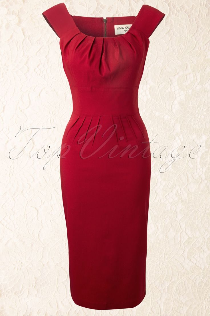 Tatyana 50s Holly Pencil Dress in Red
