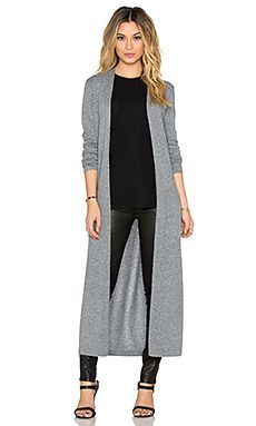 Theory Torina Long Cardigan in Heather Grey