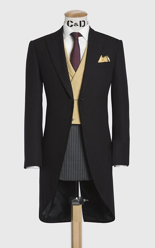 Three piece morning suit with yellow doeskin waistcoat, made up in a black barra…