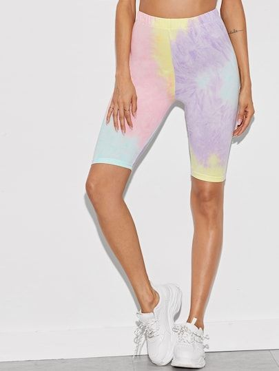 Tie Dye Pastel Color Cycling Shorts