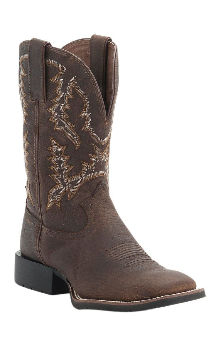 Tony Lama 3R Series Men's Brown Pitstop Top Double Welt Square Toe Boots #Yogapa…