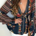 Tribal Print Deep V Flared Sleeve Blouse