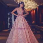 V-Neck Beading Puffy Lace Luxury Pink Flowers Evening Gowns