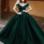 V-neck Off The Shoulder Long Satin Prom Dresses Ball Gowns