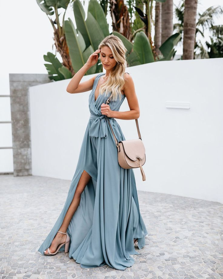 V neck sleeveless split beach maxi dress