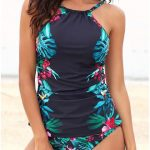 VERYVOGA Floral Strap High Neck Elegant Attractive Tankinis Swimsuits