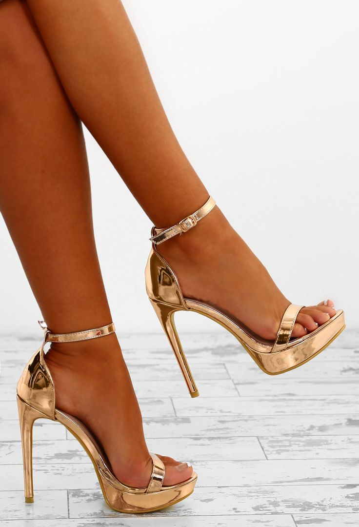 Vacay Fever Rose Gold Barely There Platform Heels – 8