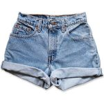 Vintage 90s Levi's Medium Blue Wash High Waisted Rise Cut Offs Cuffed Rolled...-...