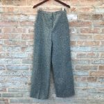 Vintage Tweed Trousers Green Wide High Waist Pants 70s tweed trousers, labeled v...