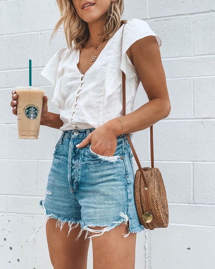 Weekend ready. 🖤☕️ I'm wearing my favorite denim jeans shorts- love the…