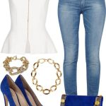 White Peplum Top w/ Light Wash Jeans & Blue Heels and Clutch