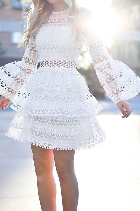 White Short Prom Dresses With Lace Homecoming dress