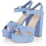 Wide Fit Blue Suedette Cross Strap Block Heels (4940 RSD) ❤ liked on Polyvore ...