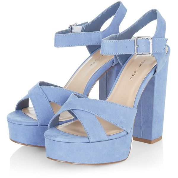 Wide Fit Blue Suedette Cross Strap Block Heels (4940 RSD) ❤ liked on Polyvore …