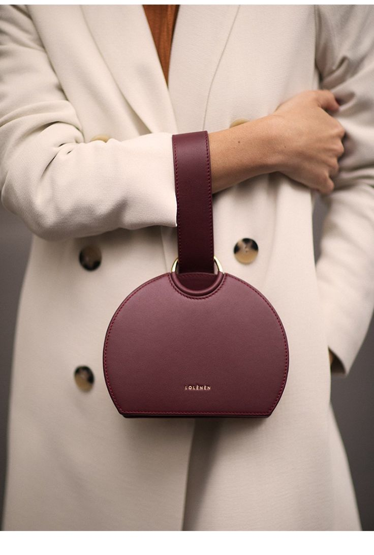 Wine Red Women Top-Handle PU Leather Saddle Bag