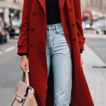 Woman Wearing Red Trench Coat Black Top Jeans Outfit Fashion Jackson San Diego F...