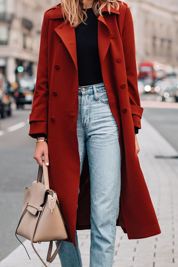 Woman Wearing Red Trench Coat Black Top Jeans Outfit Fashion Jackson San Diego F…