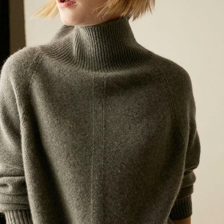 Women Cashmere Sweater High-Necked Pullovers Winter Warm Tops Knitwear Loose #fa…