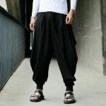 Women Mens Harem Pants Yoga Japanese Style Baggy Hippie Genie Wide Leg Trousers Black